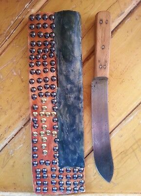 Plains Indian Sheath and Knife: Rawhide Tacked Earth Pigments Butcher Knife