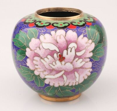Chinese Old Cloisonne Enamel Pinch Silk Hand Carving Peony Statue Vase