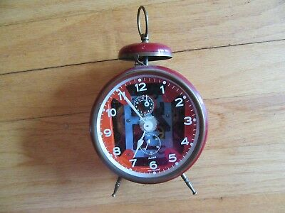 8Y/vintage Jerger German Alarm Clock/metal/single Bell/open See Through Face!