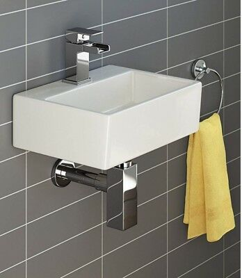 Modern Square Ceramic Cloakroom Basin White Wall Hung Bathroom Sink CA1003