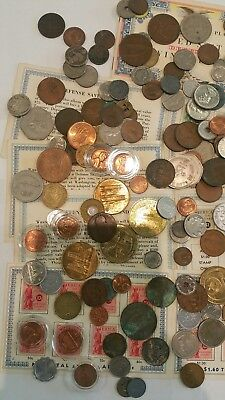 Large Lot Of Assorted Coins Tokens And Medals Saving Bonds Collectable Currency