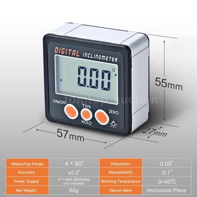 Magnet Mini Gauge LCD Box Bevel Digital Base Protractor 0-360 Angle Inclinometer