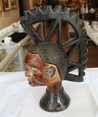 Antique African Tribal Art Hand Carved Wooden Old Igbo Mask Headcrest Nigeria