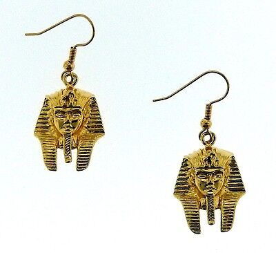 Egyptian Earrings of King Tut-  Famous Boy King-   3/D   18K. Yellow  Goldtone