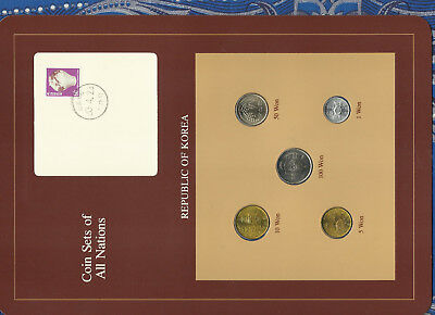 Coin Sets of All Nations Korea 5 coin 1971-1983 UNC 5 won 1971