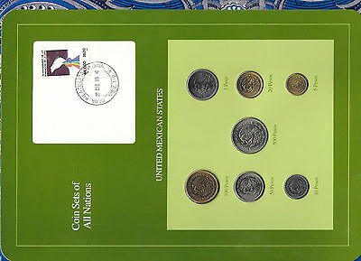 Coin Sets of All Nations Mexico 1985-1987 UNC 1,5,10,50,100,500 Pesos 1987