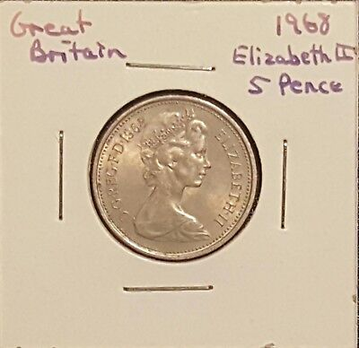 1968 Great Britain 5 Pence - Queen Elizabeth II