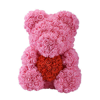 Pink Rose Teddy Bear Flowers Plush Toy for Girlfriend 15'' Wedding Birthday Gift