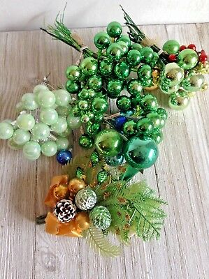Vintage Lot of Christmas Decorations Mercury Glass Picks and Corsage Greens