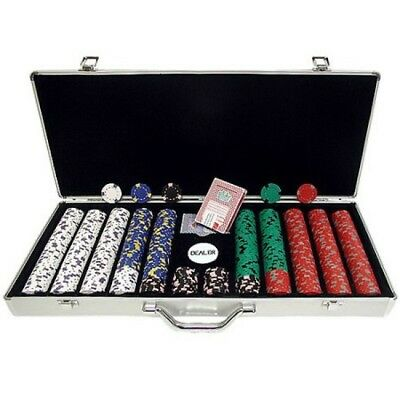 Poker 650pc 13g Professional Casino Clay Chips with Aluminum Case w/ Felt