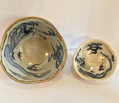 A Rare & Unusual Pair of 18th Century Crackle Glaze Pottery Dragon Bowls