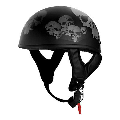 Dot Approved Skulls Custom Graphic Low Profile Motorcycle Half