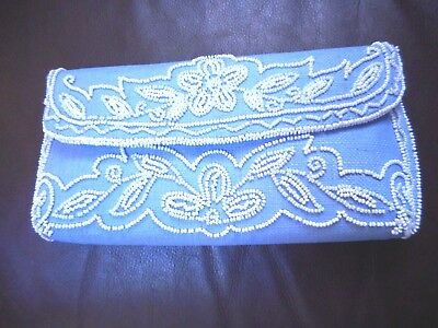 BEADED FLOWERClutch Vintage Hand Made France Made for H.A & E Smith LTD Bermuda