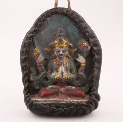 Precious Porcelain Leather Unique Handmade Carving Buddha Statue Pendant
