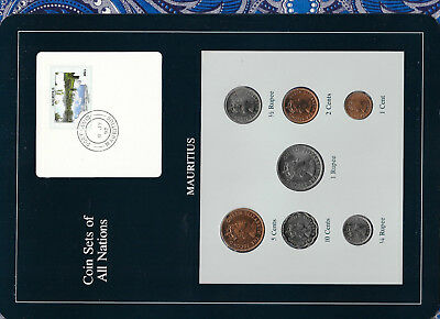 Coin Sets of All Nations Mauritius 1978 UNC 1/4,1/2,1 Rupee 10,5,2,1 Cents