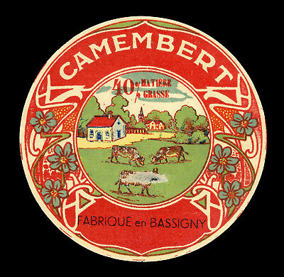 French Cheese Label: Original Vintage Camembert - Bassigny - France (damaged)