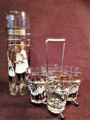 Vintage 'Barber's Quartet' Carafe and 4 glasses with caddy. Unusual and fun.