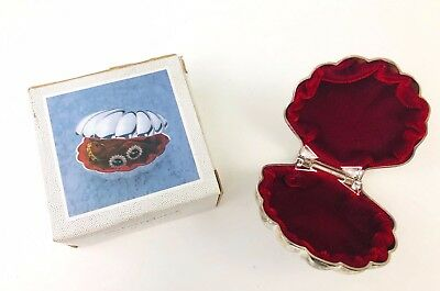 Sea Shell Shaped Silverplated Trinket Box Case Jewelry Earrings Rings EUC
