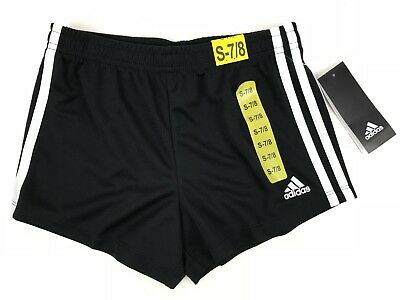 NEW Girl's Adidas Youth Active Black White Shorts Mesh Athletic 3 Stripes S & M