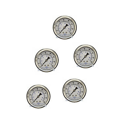"5 Pack Liquid Filled Pressure Gauge 0-160 Psi, 2.5"" Face, 1/4"" Back Mount Wog"
