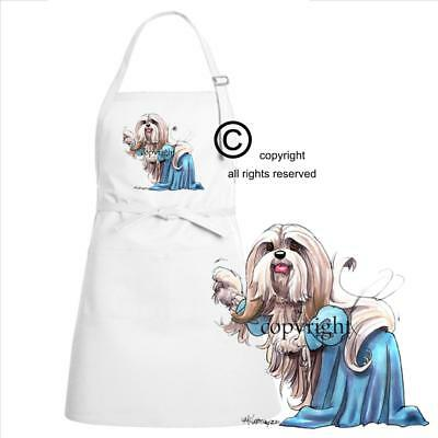 Lhasa Apso Dog Breed Cartoon Caricature In Evening Gown Kitchen Chef Apron