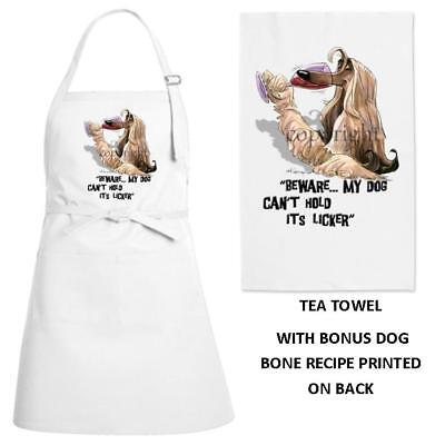 Afghan Hound Dog Can't Hold Its Licker Kitchen Chef Apron & Dish Towel Gift Set