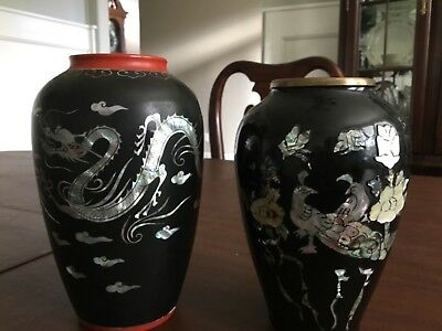 2 vintage Korean brass black lacquer vases with mother of pearl inlay