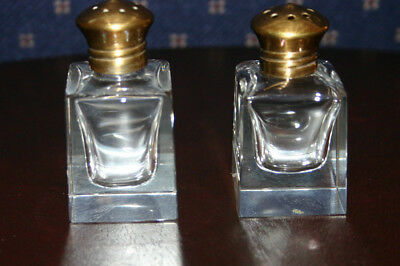 Antique Small Set > Crystal > Salt And Pepper Shakers > Brass Shaker Caps
