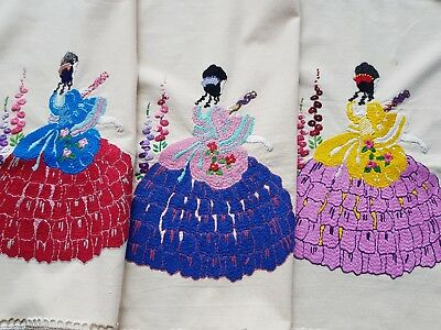 GORGEOUS Vintage Hand Embroidered Cloths with Crinoline Ladies