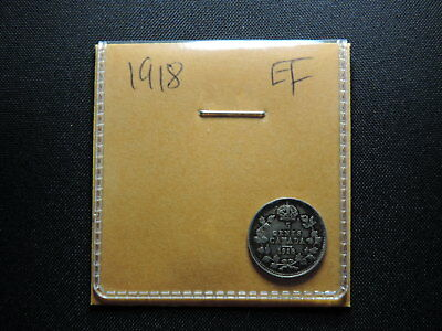 1918 5 Cent Coin Canada King George V Five Cents .925 Silver EF Grade