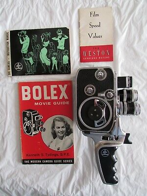 Paillard Bolex D8L Turret 3-Lens Movie Camera,Grip,Instruction Manual MINT