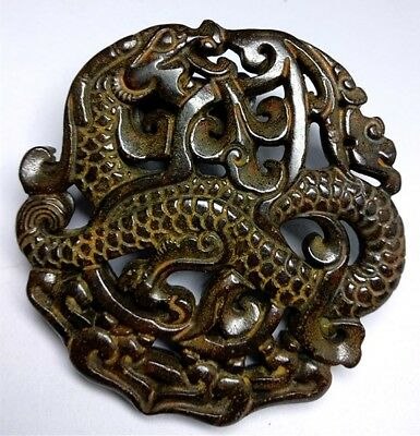 China's exquisite old jade double faced dragon talisman statue/ Pendant