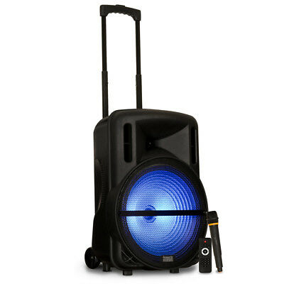 "Acoustic Audio Rechargeable 15"" Bluetooth Party Speaker w/ Lights & Wireless Mic"