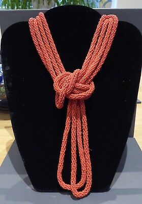 Red Beaded Flapper Necklace *over 4 Feet Long* A Beauty