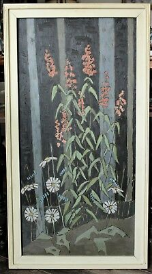 Large Floral Oil Painting By Listed Canadian Artist Vincent Thomas (1915-1988)
