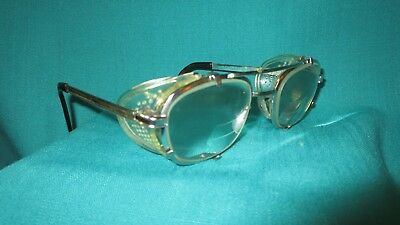 Vtg.~ANTIQUE AirCo USA Tri Focal SAFETY GLASSES STEAMPUNK~Welding~MOTORCYCLE euc