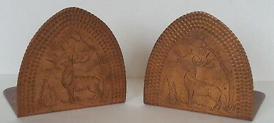 Arts And Crafts Hammered Copper Bookends With Engraved Elk Northland College