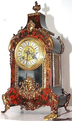 Antique French Boulle Ormolu Mantel Clock In Red Shell Veneer & Brass Inlay
