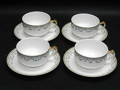 Set for 4 Antique Rare Haviland France Limoges Coffee Tea Cups and Saucers