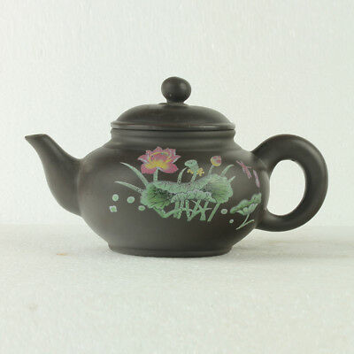Old Chinese Hand Made zisha Teapot carved Morning Glory  GL057