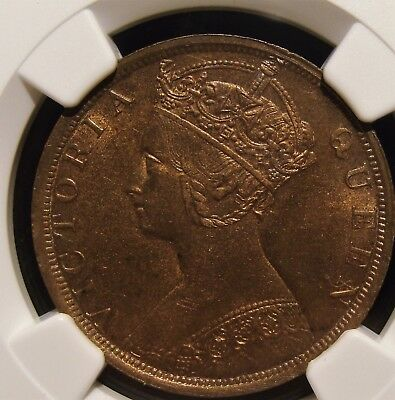 Hong Kong : British Colony. Victoria Cent 1901 MS63 Red and Brown NGC.