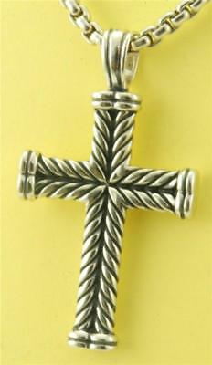 "David Yurman Sterling Silver Cable Cross with 24"" chain UNISEX"