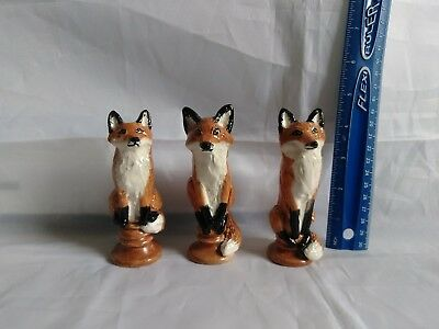 Three Foxes Kiln Fired Glazed Figurines Sculptures Game Pieces OOAK