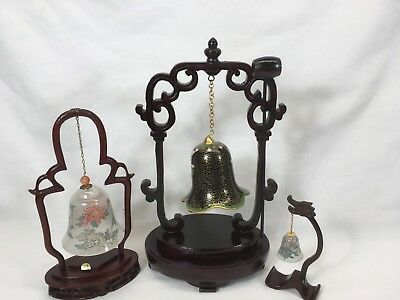 Three Hanging Bells From Wood Stands China All Original