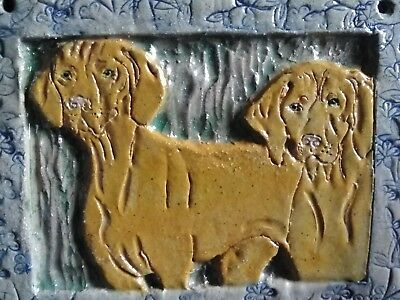 Two Vizsla Dogs Art Tile Kiln Fired Glazed Stoneware OOAK Artist Signed