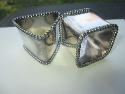 Antique Victorian Beaded Sheffield Silver Plate Napkin Rings Square Triangle