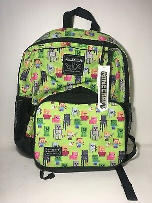 Minecraft 16in kids backpack with matching insulated lunch box. NWT