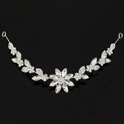 Floral Bridal wedding Head Piece Hair Accessories silver Pearl Diamontes Bride