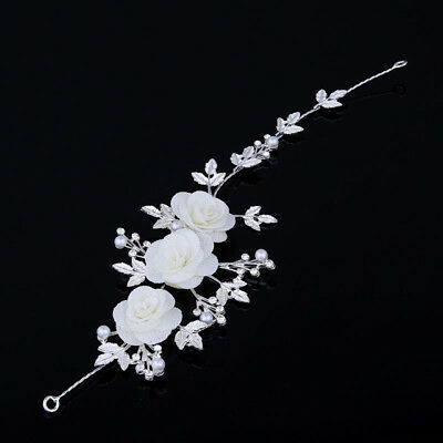 Rose Bridal wedding Head Piece Hair Accessories silver Pearl Diamontes Bride 3