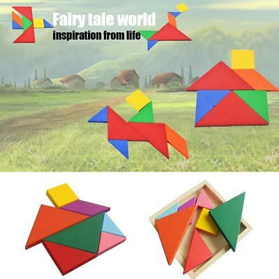 Educational Puzzle Game Wooden Childs Jigsaw Tangram Tetris Pre-School Kids Toys